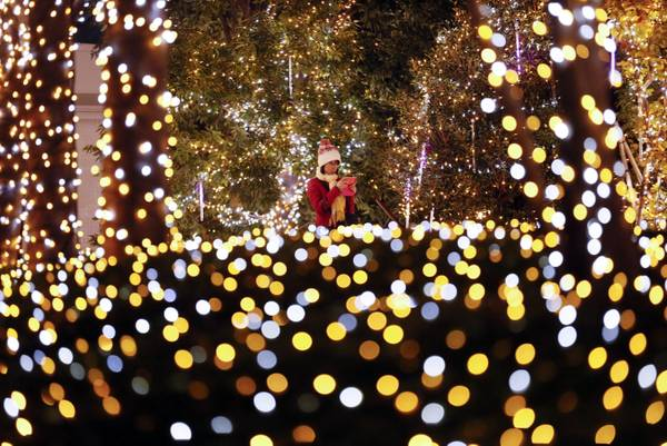 epa03469228 A woman checks her camera as she walks along Christmas illuminations in Tokyo, Japan, 13 November 2012. About 370,000 light-emitting diode (LED) bulbs powered by green electricity started to lighten a Tokyo complex area on Tuesday through the New Year.  EPA/KIMIMASA MAYAMA